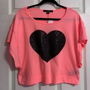 Pink Shirt with Black Heart